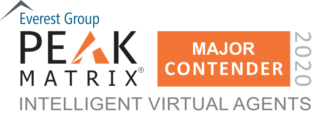 Intelligent Virtual Agents 2020 - PEAK Matrix Award Logo - Major contender